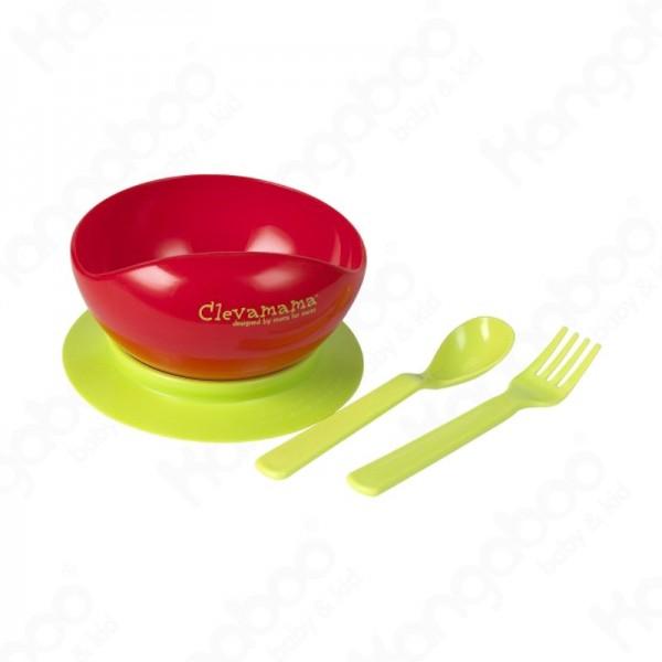 CLEVAMAMA tapadó aljú tányér kanállal és villával